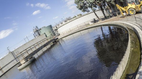 Una vasca dell'impianto di depurazione di Medio Chiampo. ARCHIVIO