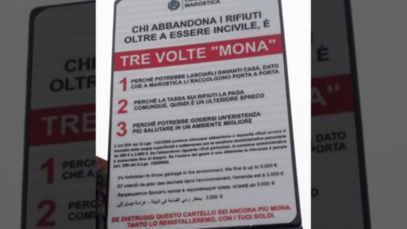 Uno dei cartelli collocati lungo via Levà