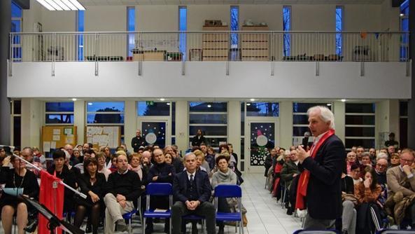"""Un momento della presentazione all'auditorium """"Perlasca"""". A.FR."""
