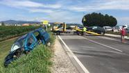 L'incidente tra due auto lungo la Almisanese